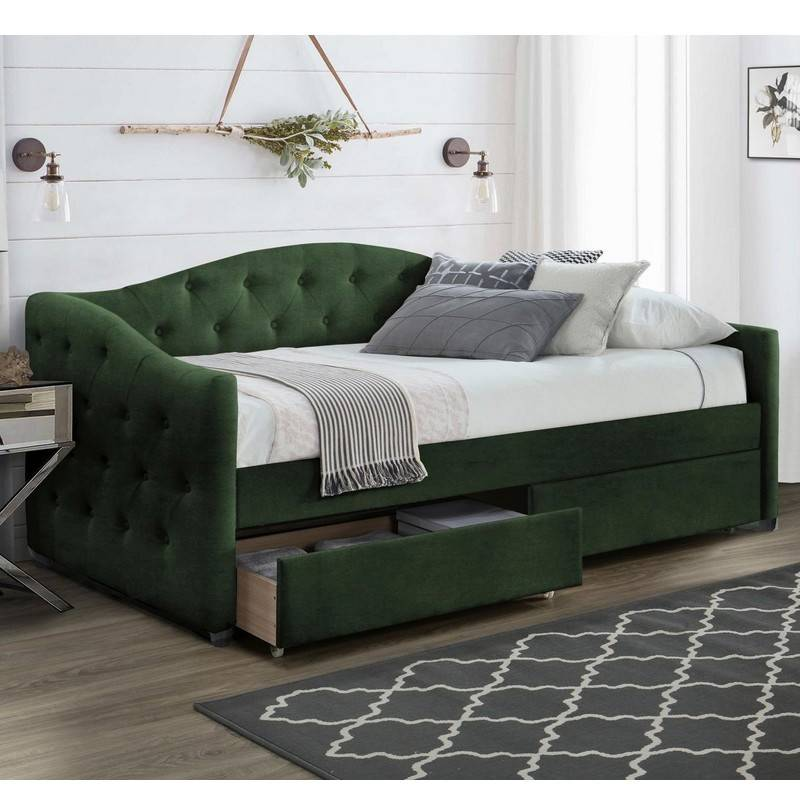 SO INSIDE Lit 90 x 200 en velours vert foncé capitonné avec tiroirs de rangement Corfu