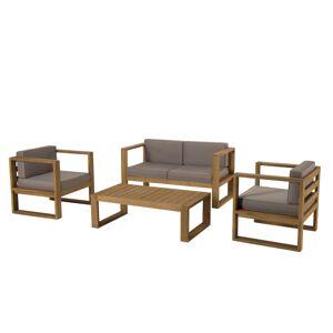 SO INSIDE Salon de jardin 4 Places Table basse & Fauteuils et Canapé en Teck avec Coussin taupe Palma - Publicité