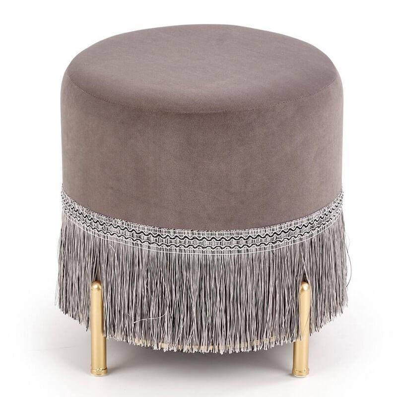 SO INSIDE Pouf à franges en velours gris cendré avec pieds en métal doré BINGE