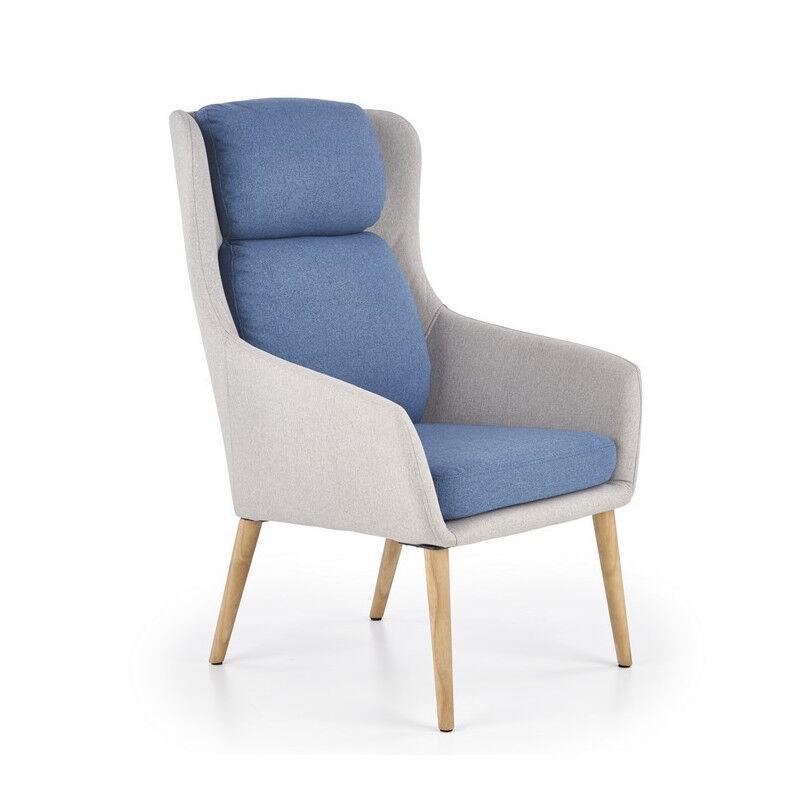 SO INSIDE Fauteuil confort scandinave gris et bleu Moly