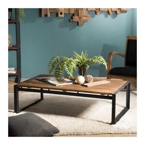 SO INSIDE Table basse rectangulaire design industriel teck et métal 120x70cm Tinesixe - Publicité