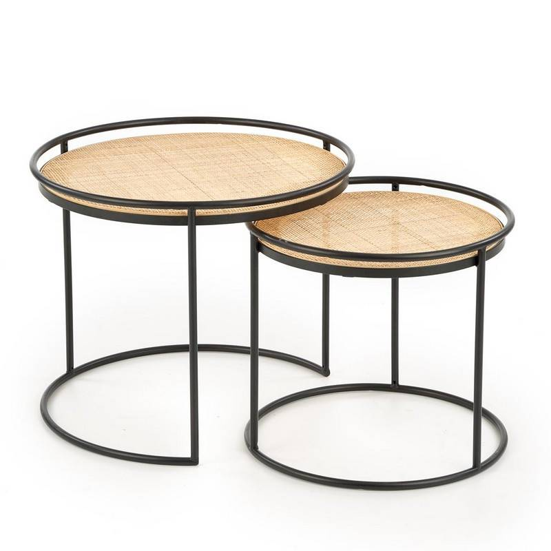 SO INSIDE Ensemble de deux tables gigognes rondes en rotin et acier noir Swing