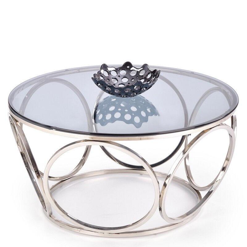 SO INSIDE Table basse design avec piètement en acier chromé et plateau rond en verre fumé 80 cm Show