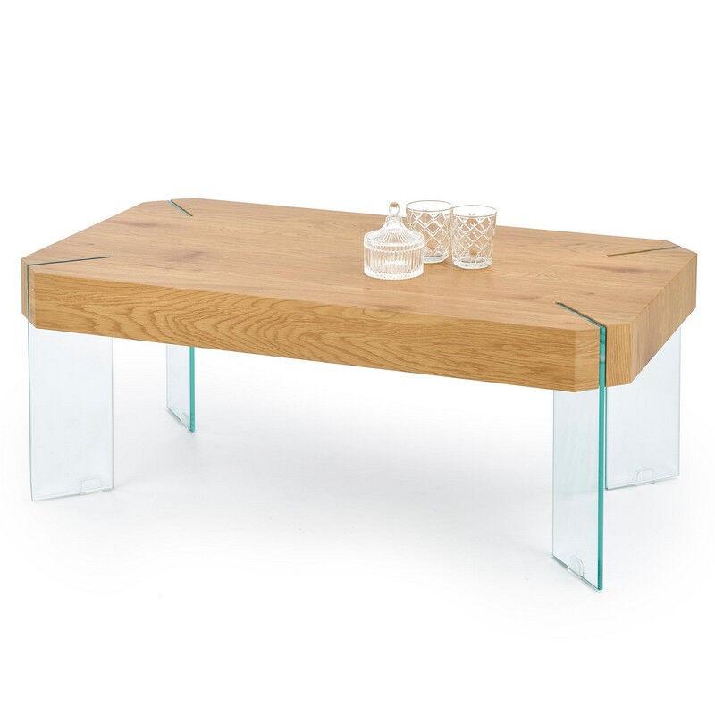 SO INSIDE Table basse design avec épais plateau aspect chêne doré et pieds en verre Marseille