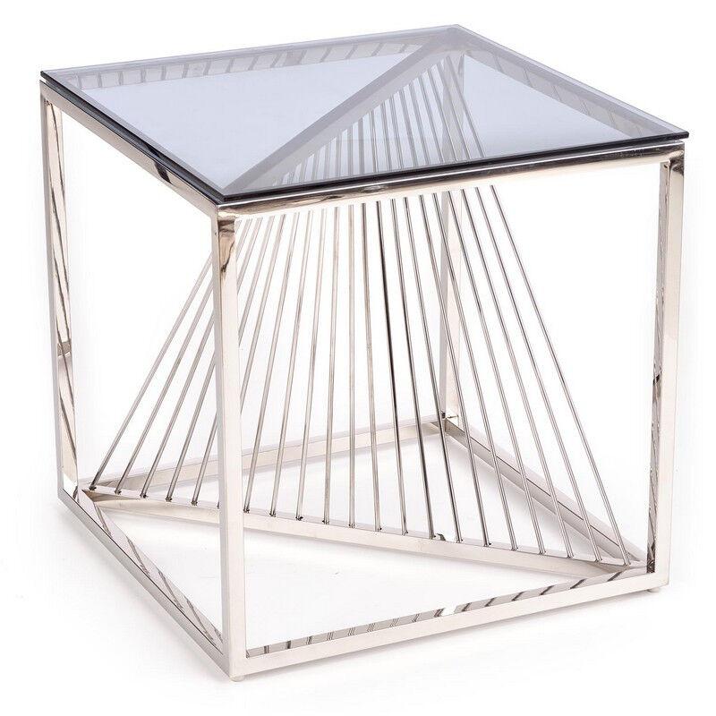 SO INSIDE Table basse carrée avec plateau en verre fumé et piètement design en acier chromé Stone