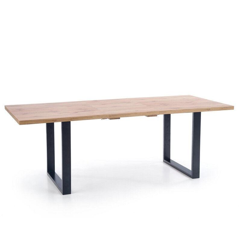 SO INSIDE Table de salle à manger extensible 135-185 cm avec plateau aspect chêne Wotan et pieds métal noir Venice