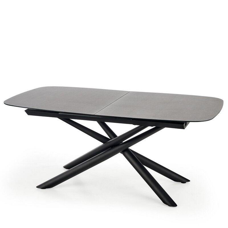 SO INSIDE Table de salle à manger extensible avec plateau en verre gris foncé et pied central design en acier noir Chambord