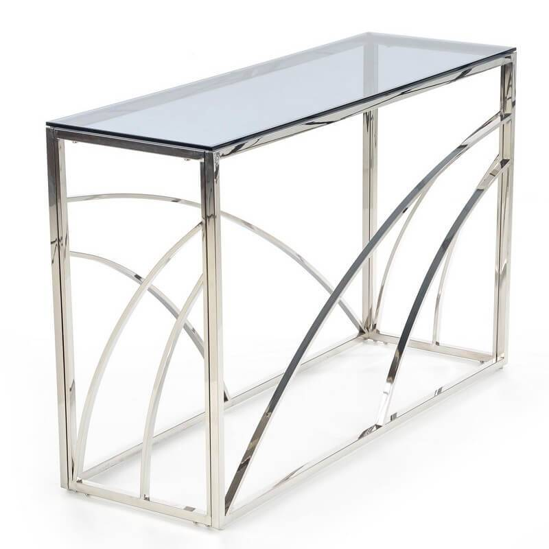 SO INSIDE Console 120 x 40 cm avec structure en métal chromé et plateau en verre fumé SOCHIC