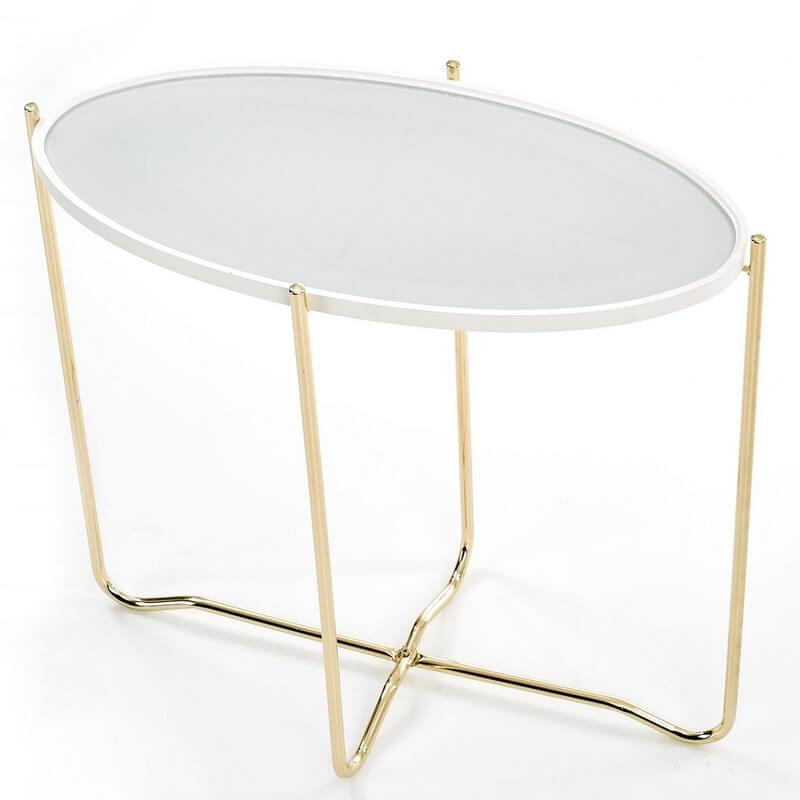 SO INSIDE Console ovale avec plateau laqué blanc avec dessus en verre et structure en acier doré ANASTASIA