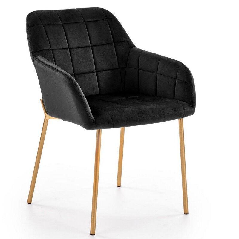 SO INSIDE Fauteuil de salle à manger contemporain en velours noir avec pieds en acier doré ALPHA