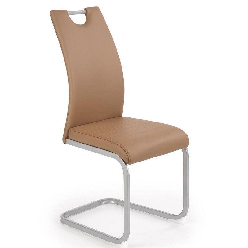 SO INSIDE Chaise de salle à manger contemporaine en éco-cuir marron avec piètement en acier couleur argent XWING