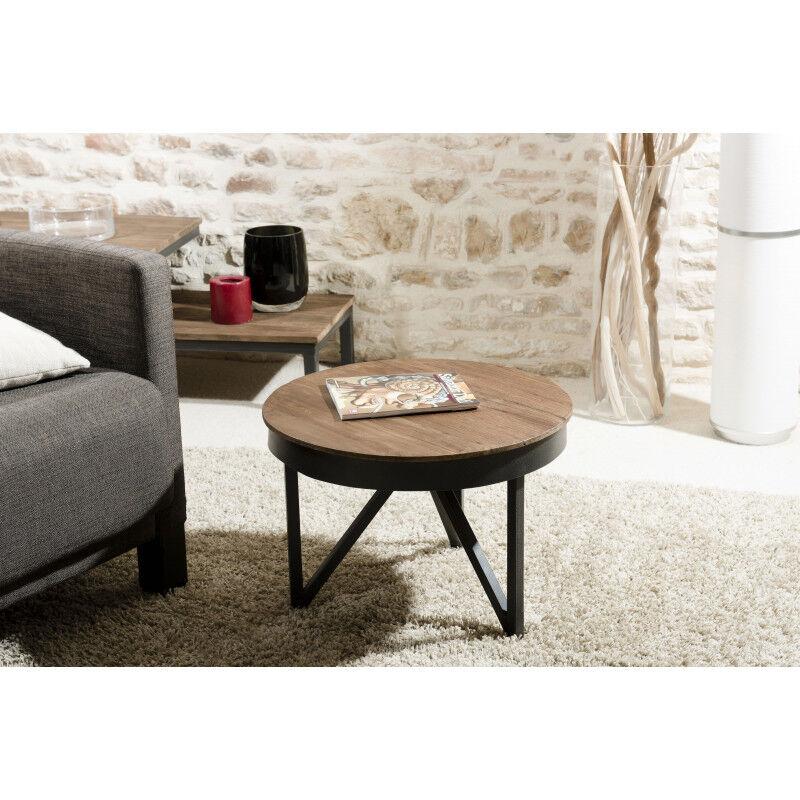 SO INSIDE Table basse ronde 50cm bois Teck pieds métal Tinesixe