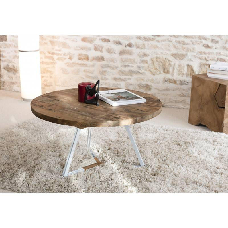 SO INSIDE Table basse ronde blanche 75x75cm bois Teck Tinesixe