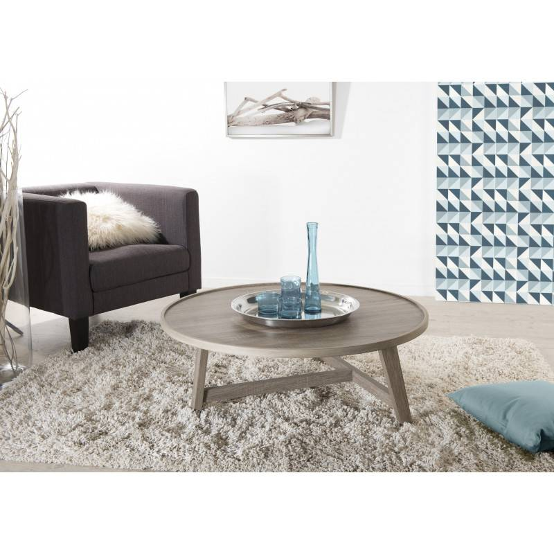 SO INSIDE Table basse ronde pieds bois 90cm Sveg