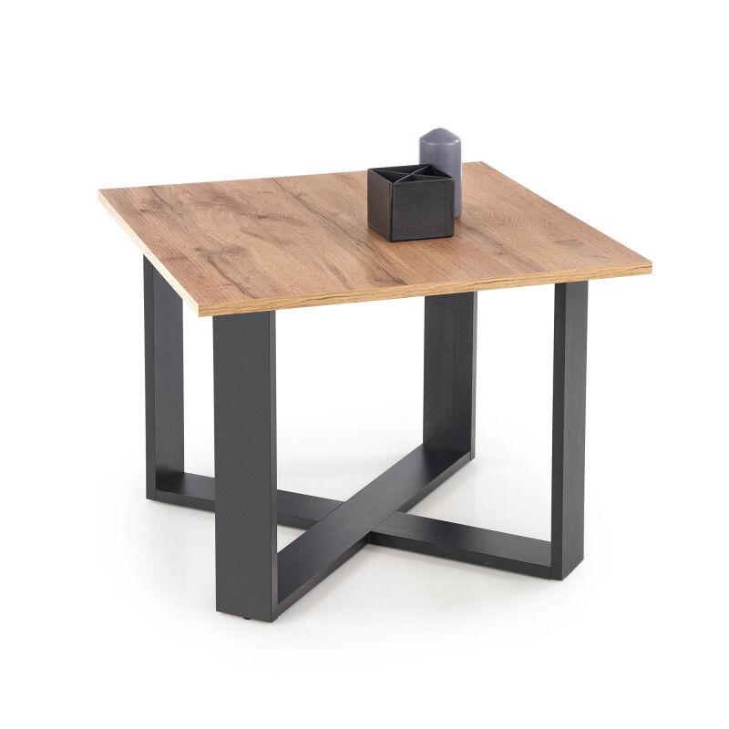 SO INSIDE Table basse carrée 67x67 cm avec plateau aspect chêne wotan et structure en métal noir GEMINI