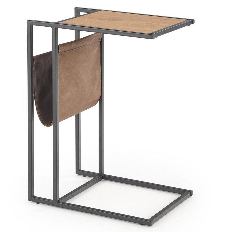 SO INSIDE Table d'appoint design avec porte-revues en cuir écologique et finitions aspect chêne doré et métal noir VINETA