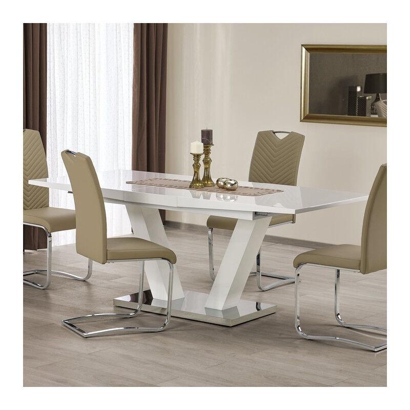 SO INSIDE Table à manger blanche pied en V Vlada