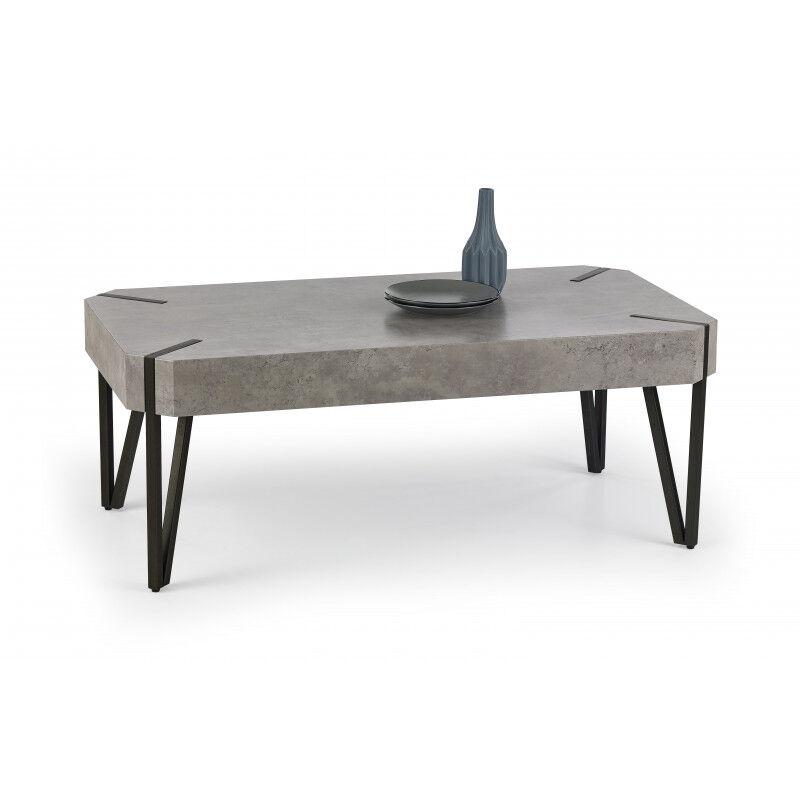 SO INSIDE Table basse industrielle béton et métal Youri