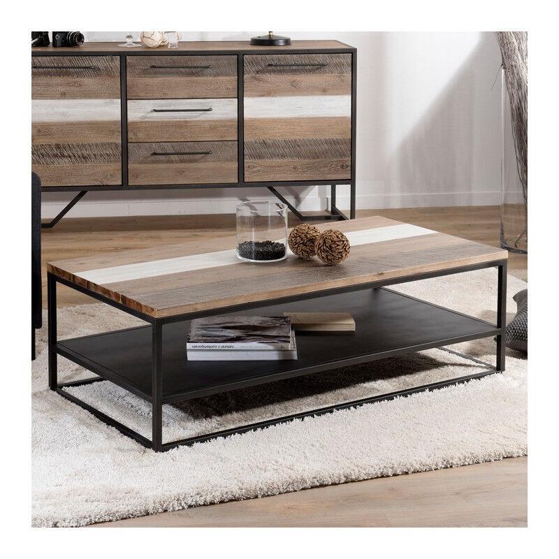 SO INSIDE Table basse industrielle bois bicolore et métal noir Léon