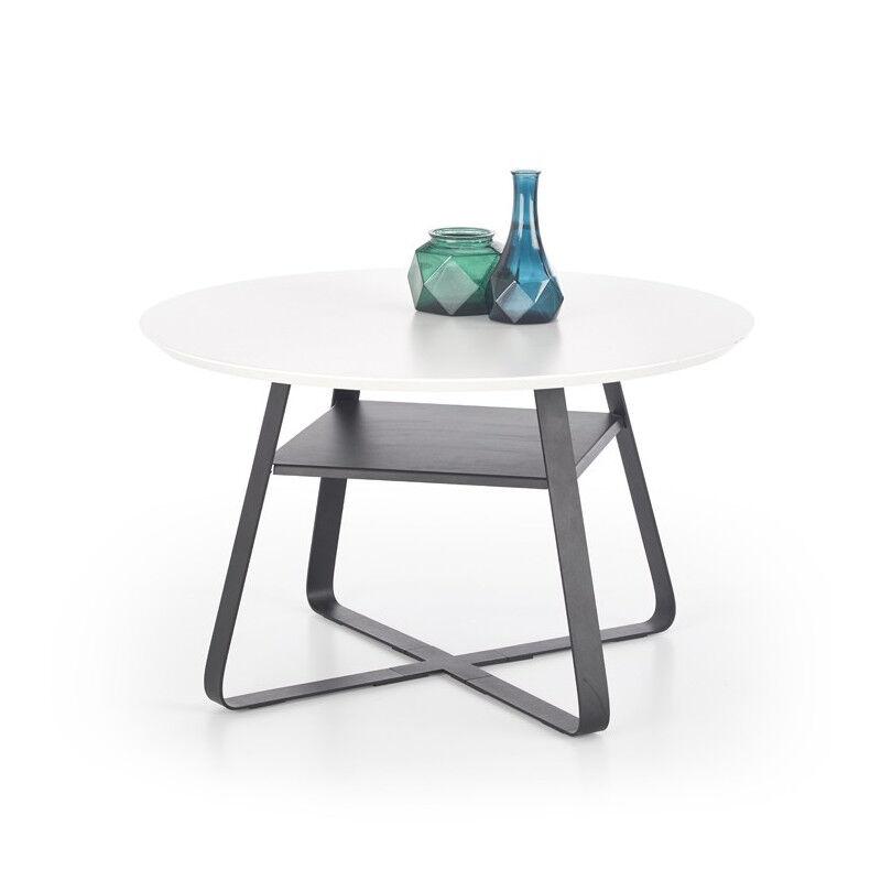 SO INSIDE Table basse ronde 75cm laquée noir et blanche Redia