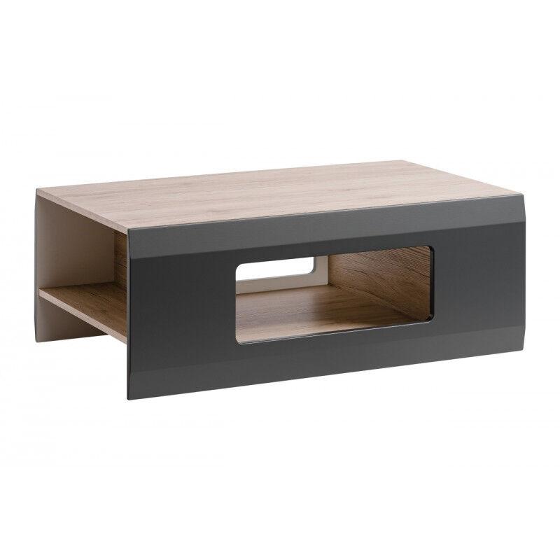 SO INSIDE Table basse gris mat et aspect chêne Zao
