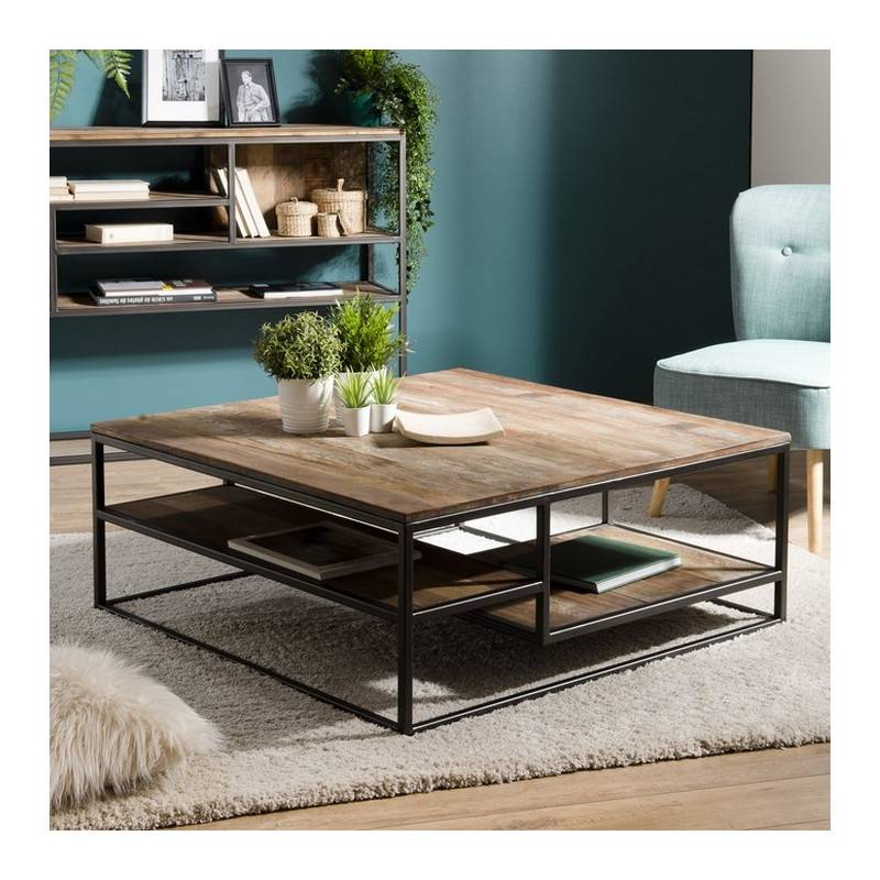 SO INSIDE Table basse industrielle carrée en teck 100x100cm Tinesixe