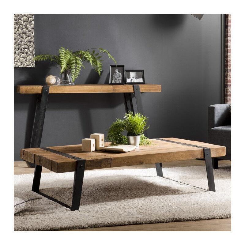 SO INSIDE Table basse industrielle teck et métal 140x70cm Tinesixe