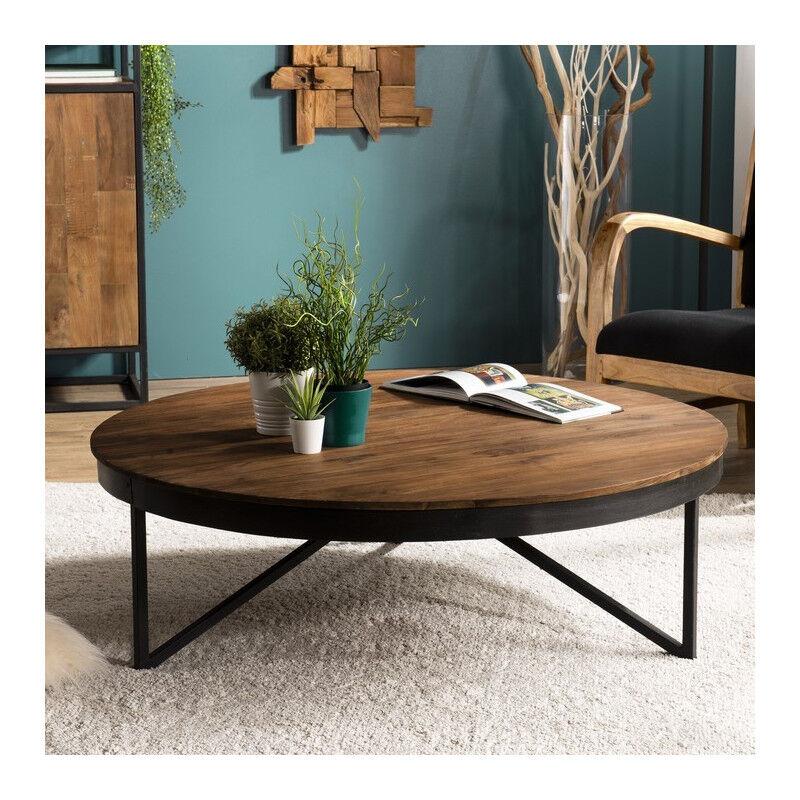 SO INSIDE Table basse ronde industrielle teck et métal 110cm Tinesixe