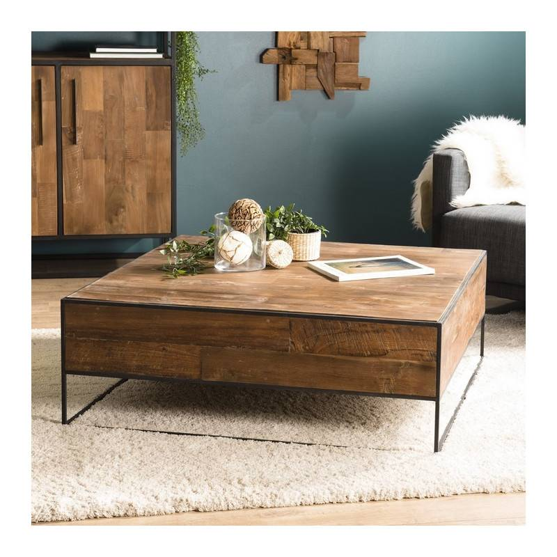 SO INSIDE Table basse carrée industrielle en teck 100x100cm Tinesixe