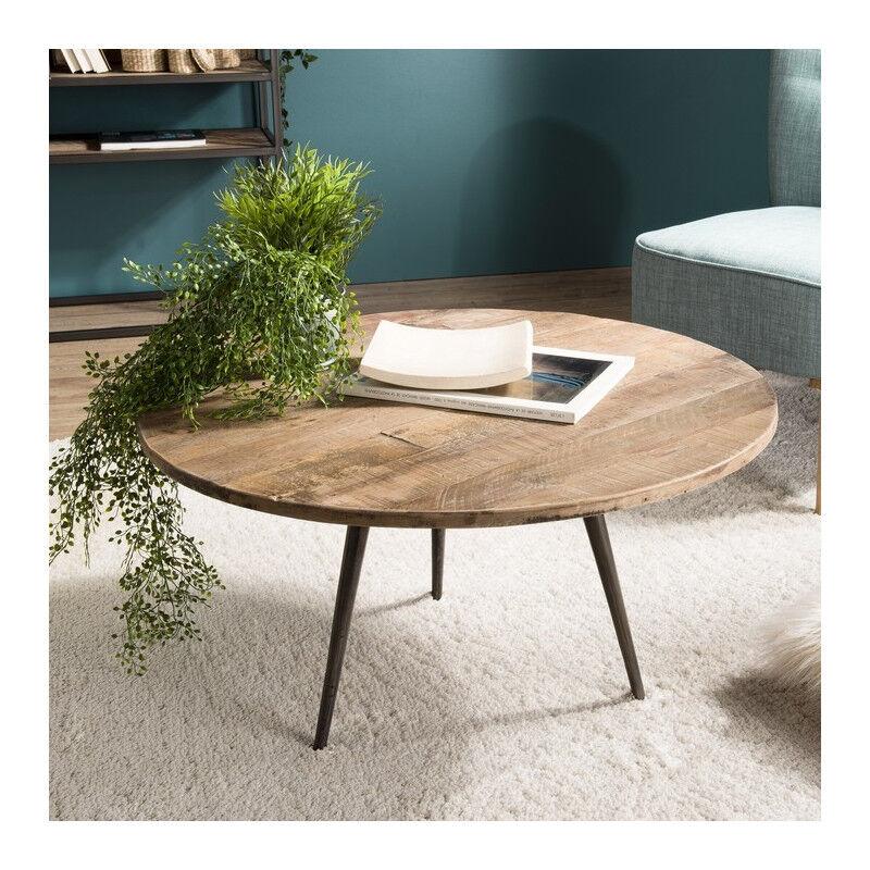 SO INSIDE Table basse ronde industrielle teck et métal 75cm Tinesixe