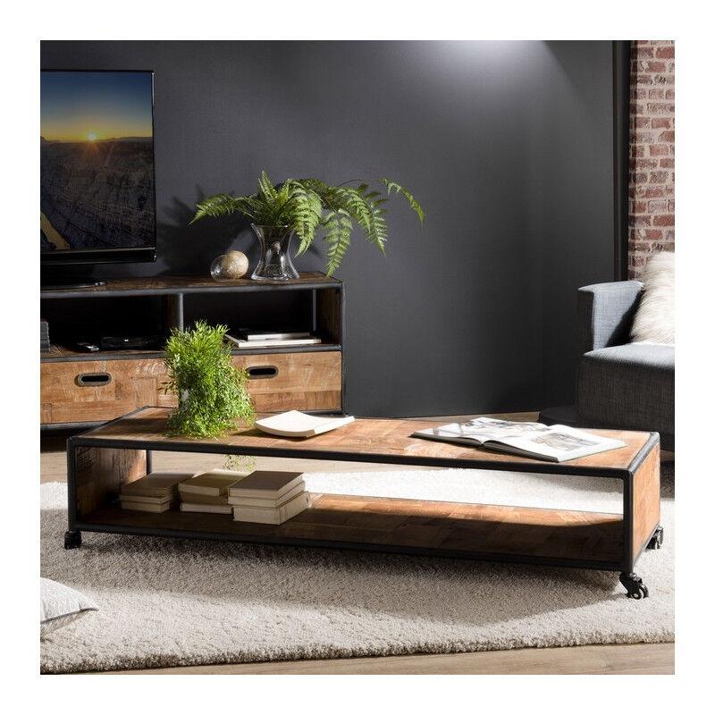 SO INSIDE Table basse à roulettes industrielle teck et métal 150x50cm Tinesixe