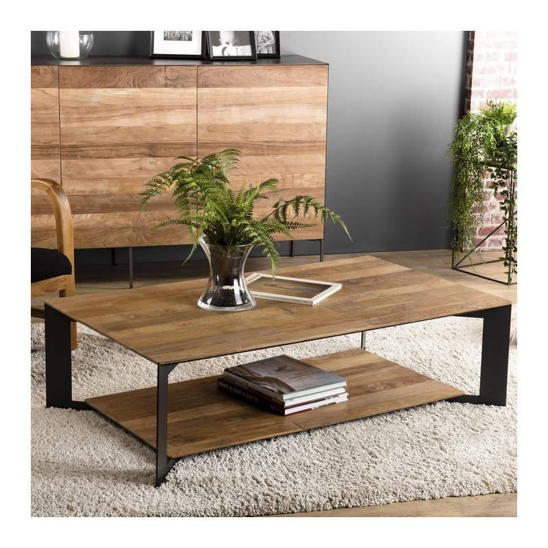 SO INSIDE Table basse industrielle originale teck et métal 120x70cm Nolwen