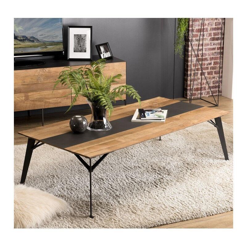 SO INSIDE Table basse design industriel teck recyclé et métal 140x70cm Nolwen