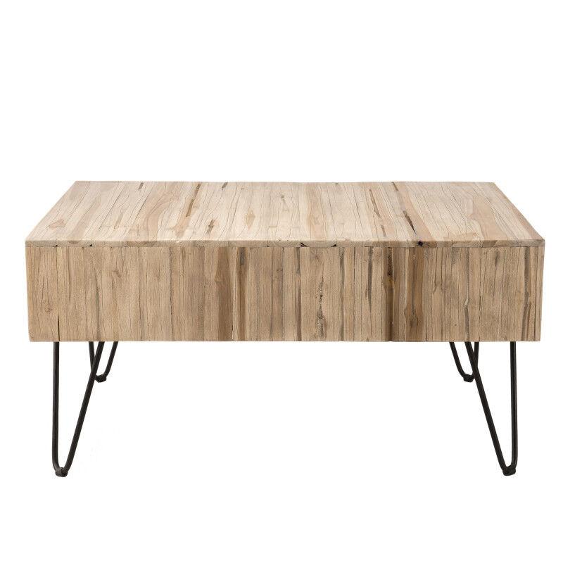 SO INSIDE Table basse rectangulaire planches teck et métal 90x60cm Woody