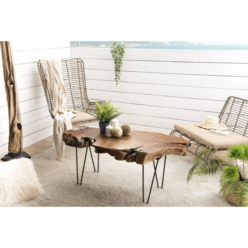 SO INSIDE Table basse design nature teck et métal Woody
