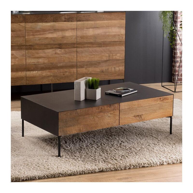 SO INSIDE Table basse design industriel teck et métal 111x60cm Nolwen