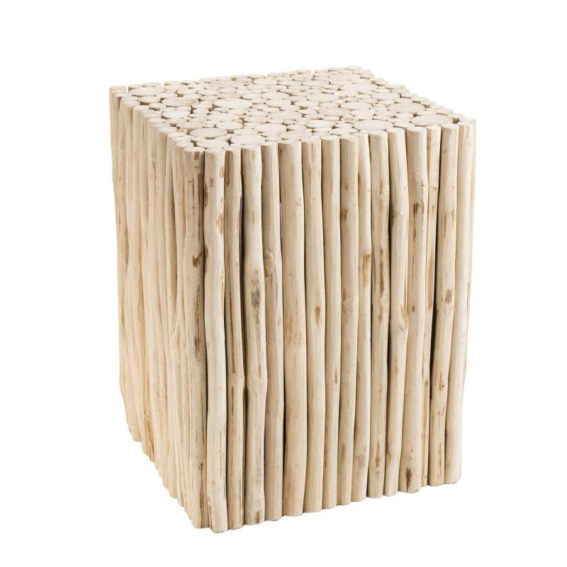 SO INSIDE Table d'appoint design branches de teck 35x35cm Woody