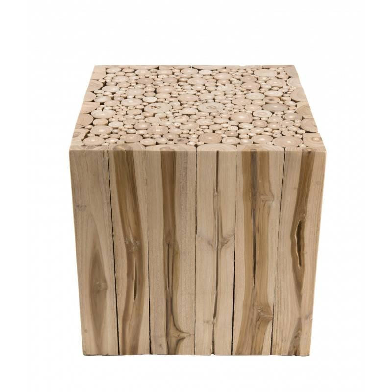 SO INSIDE Bout de canapé design branches de teck 45,5x45,5cm Woody