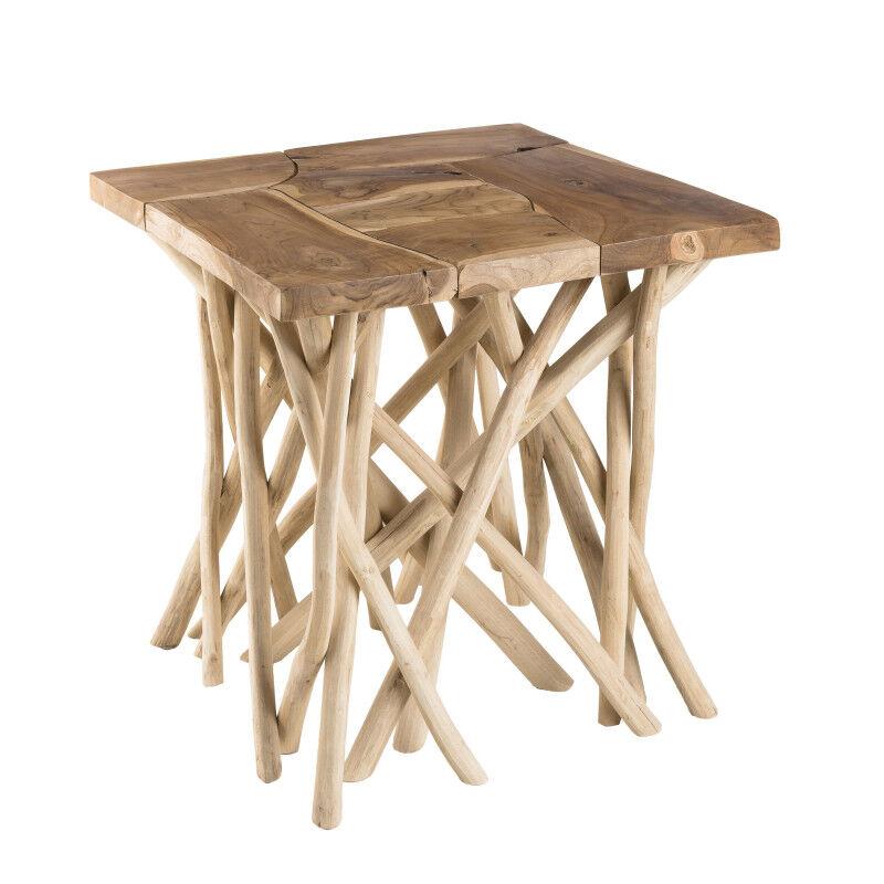 SO INSIDE Table d'appoint design teck et bois flotté 55cm Woody