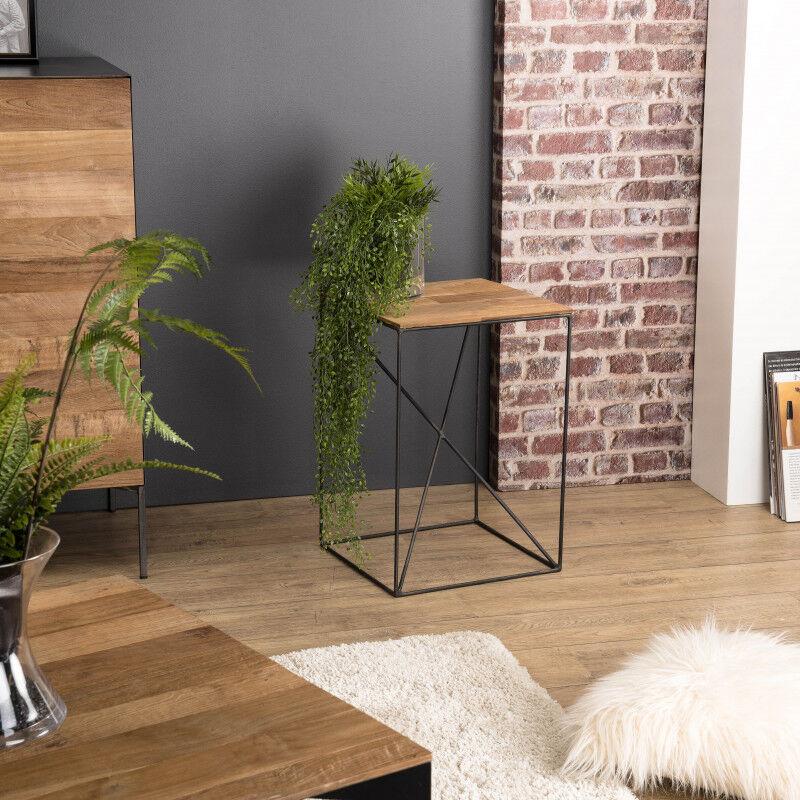 SO INSIDE Table d'appoint industrielle teck recyclé et métal 35x35cm Nolwen