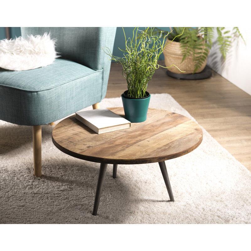 SO INSIDE Table d'appoint ronde design industriel teck et métal 55cm Tinesixe