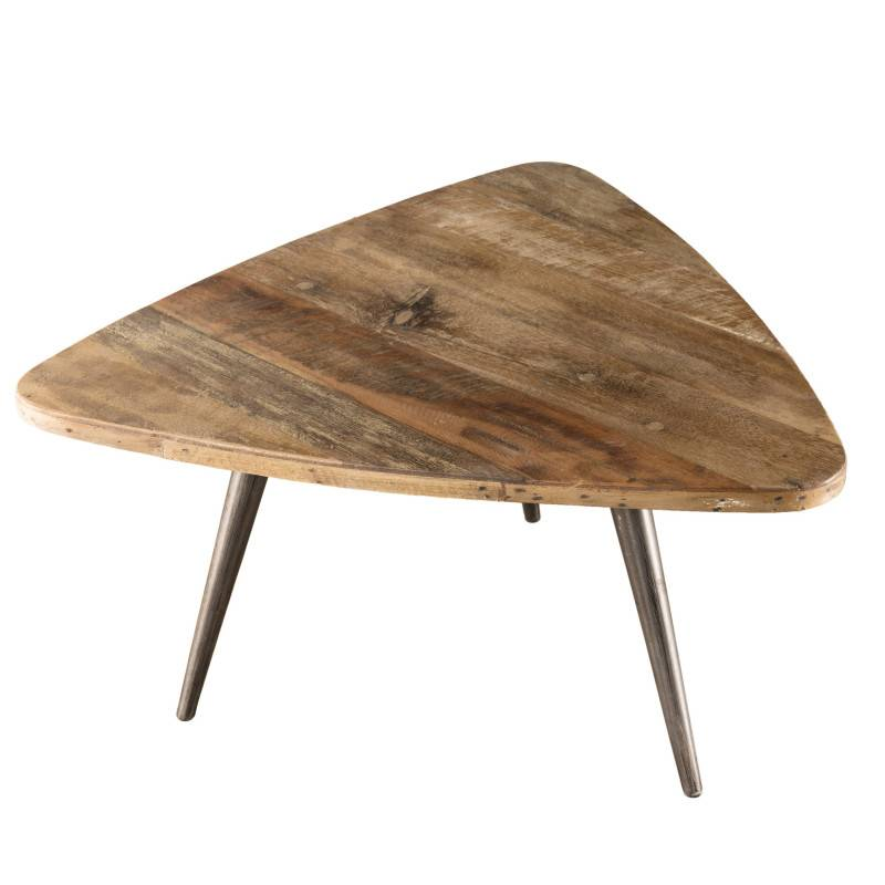 SO INSIDE Table d'appoint ovoide design industriel teck et métal 55,5x51,5cm Tinesixe