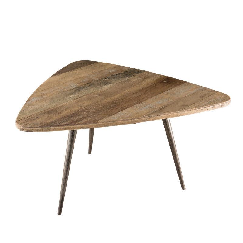 SO INSIDE Table basse ovoide design industriel teck et métal 75,5x70cm Tinesixe