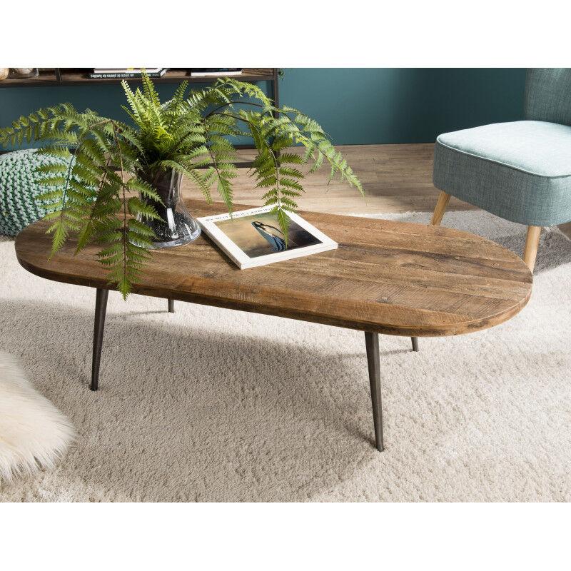 SO INSIDE Table basse ovale design industriel teck et métal 120x50cm Tinesixe
