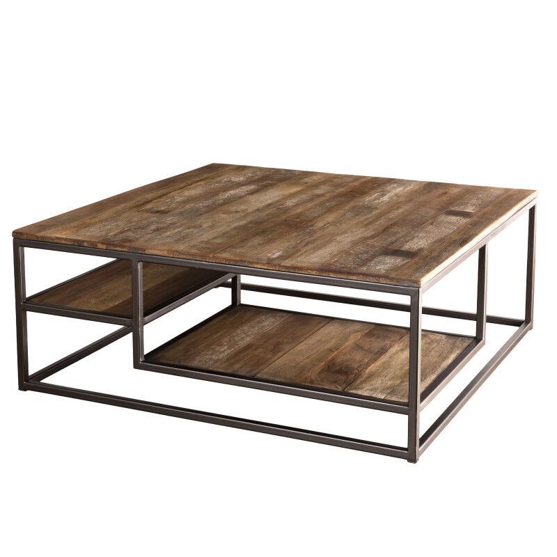 SO INSIDE Table basse carrée design industriel teck, acacia et métal 100x100cm Tinesixe