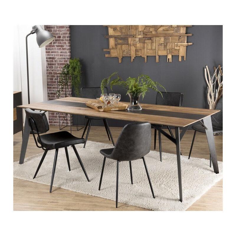 SO INSIDE Table à manger design industriel teck recyclé et métal 220x100cm Nolwen