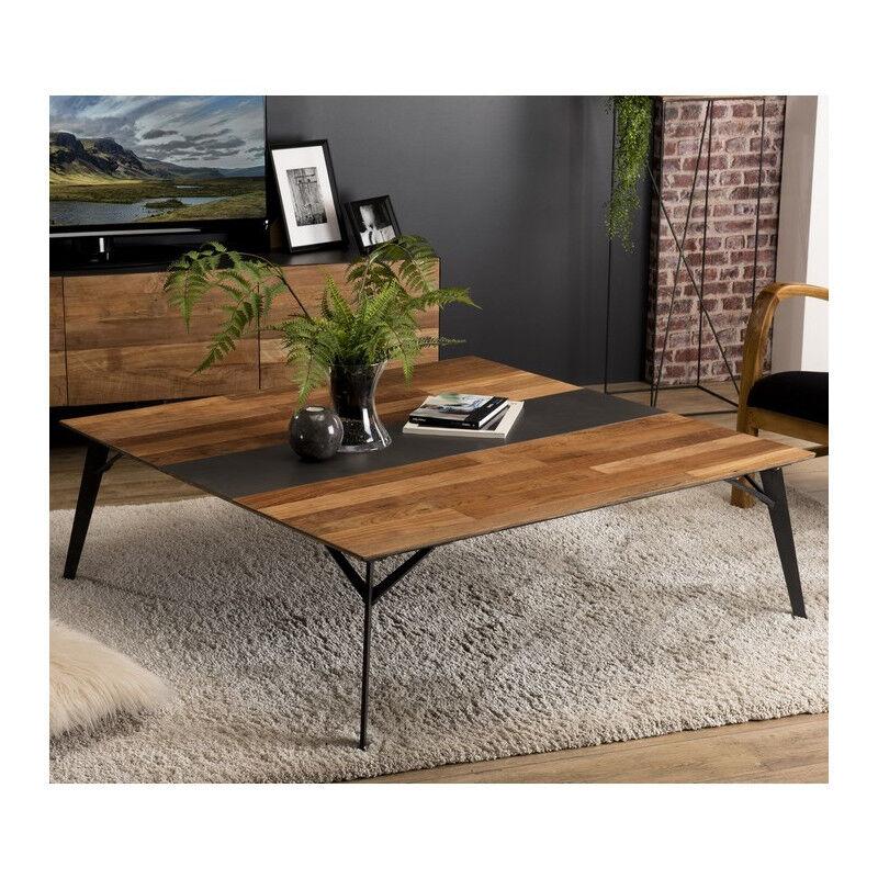 SO INSIDE Table basse design industriel teck recyclé et métal 120x120cm Nolwen
