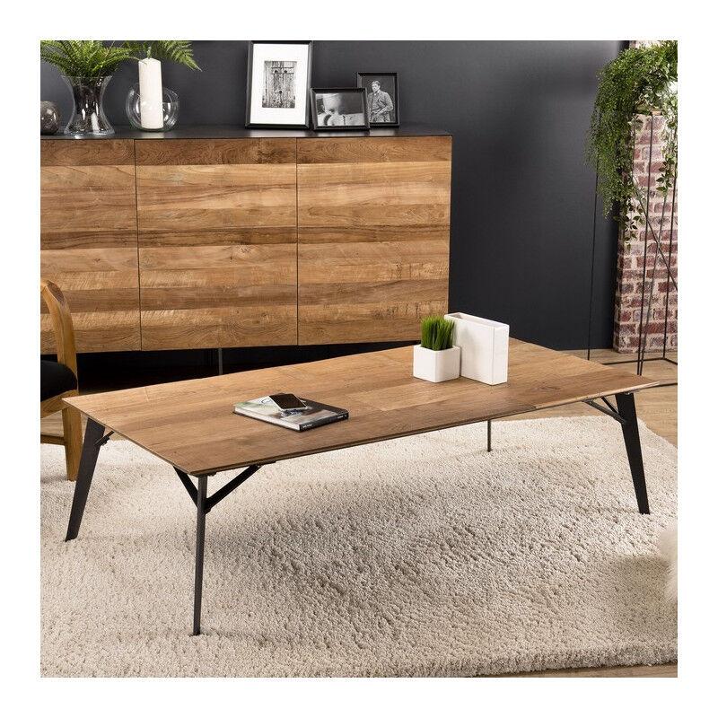 SO INSIDE Table basse design industriel teck et métal 140x70cm Nolwen