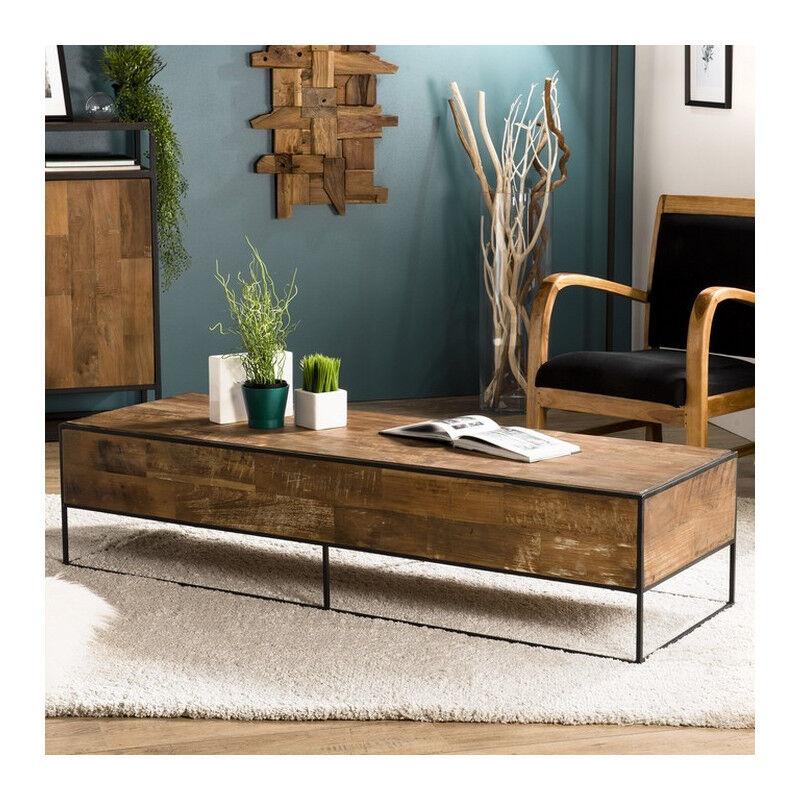 SO INSIDE Table basse rectangulaire industrielle teck et métal 150x50cm Tinesixe