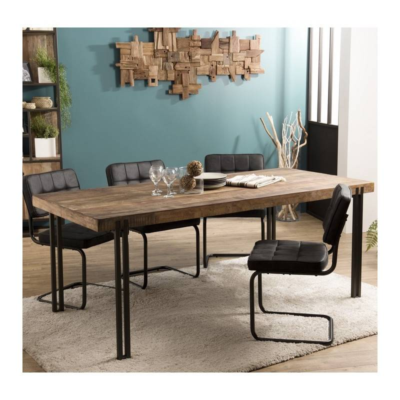 SO INSIDE Table à manger design industriel 200x90cm Tinesixe